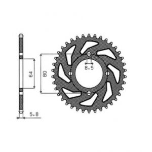 SUNSTAR SPROCKETS 1-1117-48 1-1117 REAR REPLACEMENT SPROCKET 48 TEETH 420 PITCH NATURAL STEEL