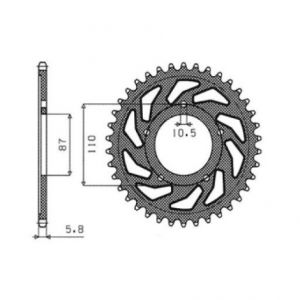 SUNSTAR SPROCKETS 1-3383-39 1-3383 REAR REPLACEMENT SPROCKET 39 TEETH 520 PITCH NATURAL STEEL
