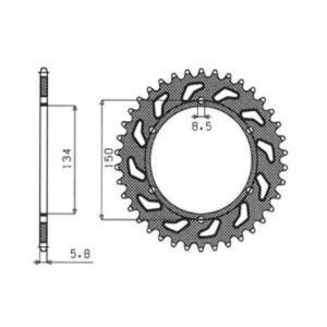 SUNSTAR SPROCKETS 1-3619-47 1-3619 REAR REPLACEMENT SPROCKET 47 TEETH 520 PITCH NATURAL STEEL