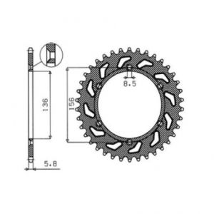 SUNSTAR SPROCKETS 1-3631-49 1-3631 REAR REPLACEMENT SPROCKET 49 TEETH 520 PITCH NATURAL STEEL