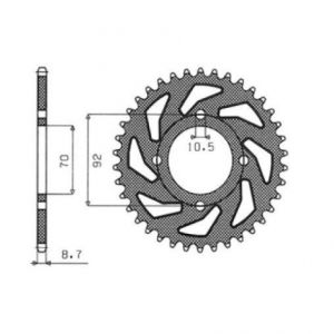 SUNSTAR SPROCKETS 1-5166-45 1-5166 REAR REPLACEMENT SPROCKET 45 TEETH 530 PITCH NATURAL STEEL