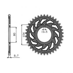 SUNSTAR SPROCKETS 1-5353-44 1-5353 REAR REPLACEMENT SPROCKET 44 TEETH 530 PITCH NATURAL STEEL