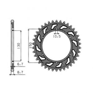 SUNSTAR SPROCKETS 1-5601-47 1-5601 REAR REPLACEMENT SPROCKET 47 TEETH 530 PITCH NATURAL STEEL