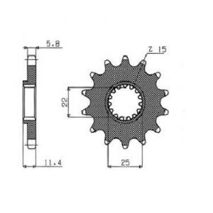 SUNSTAR SPROCKETS 36015 360 FRONT REPLACEMENT SPROCKET 15 TEETH 520 PITCH BLACK STEEL