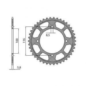 SUNSTAR SPROCKETS 5-1423-52BK 5-1423 REAR LIGHTWEIGHT SPROCKET 52 TEETH 420 PITCH BLACK ALUMINIUM