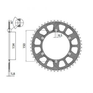 SUNSTAR SPROCKETS 5-3619-47BK 5-3619 REAR LIGHTWEIGHT SPROCKET 47 TEETH 520 PITCH BLACK ALUMINIUM
