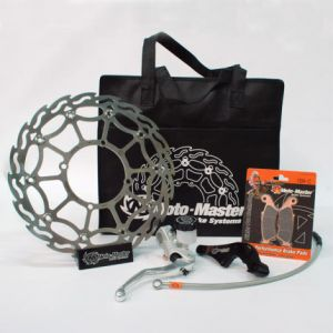 MOTO-MASTER 312029 BRAKE KIT SM STREET: 320 MM WITHOUT HEADLIGHT FLOATING FLAME DISC, BRAKE PADS, RELOCATE BRACKET, BRAKE LINE, RADIAL MASTER CYLINDER