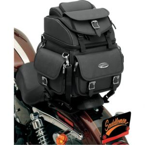 SADDLEMEN 3515-0118 DRESSER BACK SEAT SISSY BAR BAG SYNTHETIC LEATHER BLACK